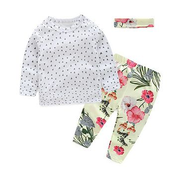 Baby Girl Floral Clothes Baby Clothing Set 3Pcs Suit Long Sleeve Baby Tracksuit Infant Clothing Sets