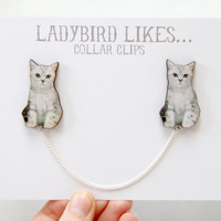 Grey Cat Wooden Collar Clips by ladybirdlikes on Etsy