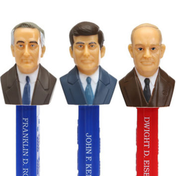 Presidents 1933-1969 PEZ Candy Dispensers: 5-Piece Gift Box