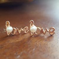 Dainty jewelry earrings love word with small stud pendant and white bead rose gold gold plated earrings