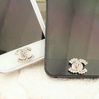 1PC Bling Crystal rhinestone   Apple iPhone 4/4s iphone 5 case Home Button Sticker, Apple iPhone Home Button Sticker,