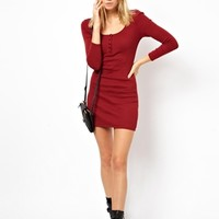ASOS PETITE Exclusive Ribbed Mini Button Front Dress -