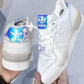 ADIDAS RIVALRY Three Leaf Trending Flat Shoes Classic Sneakers White with Laser