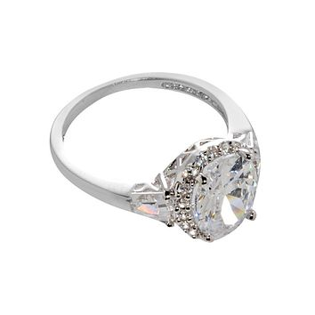 925 Sterling Silver Oval Solitaire Cubic Zirconia Ring 8mm x 10mm