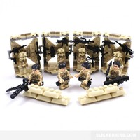 Desert Marine Minifgures and Weapons Rack