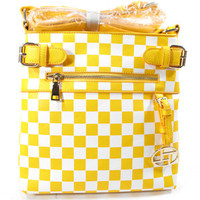 Yellow and White Messenger/Cross Body Bag