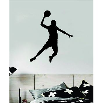 Basketball Dunk V4 Wall Decal Quote Vinyl Sticker Decor Bedroom Room Teen Kids Sports NBA Hoops