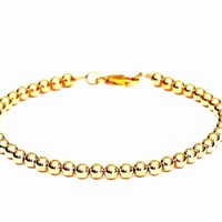 14k Gold Bead Bracelet - 4mm - for Men and Women