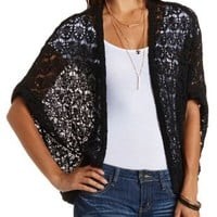 Open Weave Cocoon Cardigan by Charlotte Russe - Black