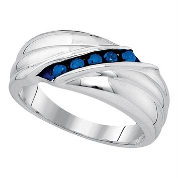 Sterling Silver Men's Round Blue Color Enhanced Diamond Wedding Anniversary Band Ring 1/3 Cttw - FREE Shipping (US/CAN)