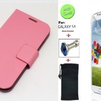"""""""Baby Pink"""" Faux Leather Skin Bracket Flip Case Cover Wallet With Magnetic Closure & KickStand For Samsung Galaxy S4 (INCLUDED: MATTE, ANTI-GLARE FRONT SCREEN PROTECTOR + DIAMOND EARPHONE DUST PLUG + PHONE DUST BAG POUCH)"""