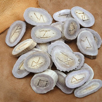 Custom whitetail deer bone antler runes ogam divination set w/ fur or leather pouch MADE TO ORDER - sets also available for purchase now
