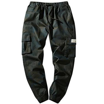Men's Flap Pockets Camo Drawstring Waist Jogger Pants