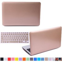 """HDE Matte Hard Shell Clip Snap-On Case for MacBook Pro 15"""" with Retina Display - Fits Model A1398 (Gold)"""