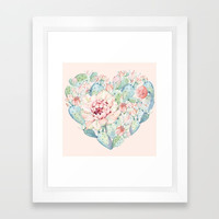 Cactus Rose Heart on Pink Framed Art Print by naturemagick