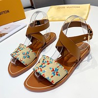 LV Louis Vuitton Woven Embroidered Letters Ladies Flat Sandals Beach Slippers Shoes Colorful