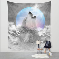 Maybe the Wolf Is In Love with the Moon / Unrequited Love Wall Tapestry by Soaring Anchor Designs