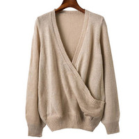 Wrap V Neck Knitted Sweater