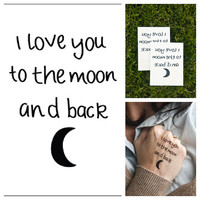 Moon Love  temporary tattoo Set of 2 by Tattify on Etsy