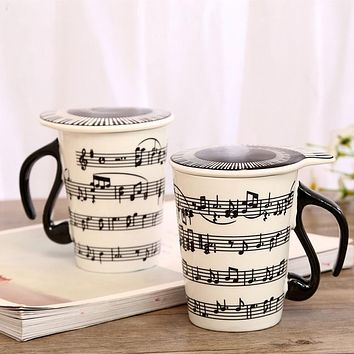 Inspirational Musical Notes Ceramic Coffee Mug with Piano Theme Lid