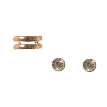 Gold Cuff and Crystal Stud Earrings Set