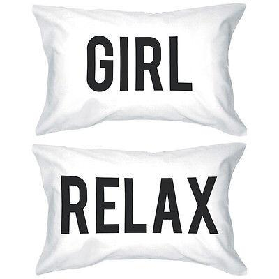 Image of Bold Statement Pillowcases 300T-Count Standard Size 21 x 30 - Girl Relax