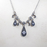 Sterling Marcasite Necklace, CZ  Sterling Silver Marcasite Dangle Drop Necklace. Marcasite Cubic Zirconia Jewelry
