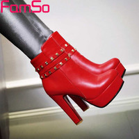 Big Size 34-43 2016 New Sexy Heels Boots Rivets Shoes Black red Office Party Ankle Boots Winter Riding Boots Shoes SBT3701
