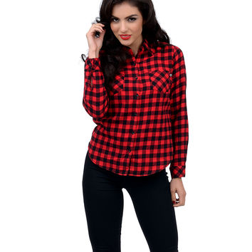 Black & Red Long Sleeve Button Up Plaid Flannel Shirt