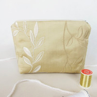 Cosmetic bag of beige embroidered taffetas Festive fabric Makeup case Zipped party purse leaf pattern silk Gifts for her Mother's Day gift