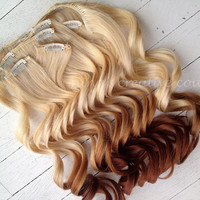 """Ombre Hair Extensions//DipDye//Reverse Ombre, Blonde and Red Brown Dip Dye//(7) Pieces//20""""//Double Wefted"""