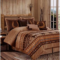 7pc Southwestern Wild Horses Microsuede Bedding Comforter Set