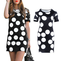 SIMPLE - Black Floral Printed White Slim One Piece Dress a12386