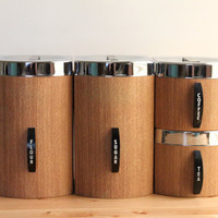 Kromex Faux Bois Canisters with Flour, Sugar, Coffee and Tea - Retro Brown Kitchen Canister Set with Chrome Lids