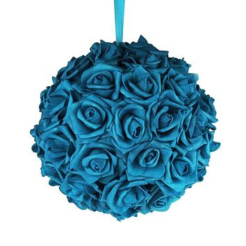 Soft Touch Flower Kissing Balls Wedding Centerpiece, 10-inch, Turquoise