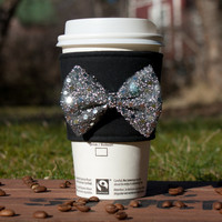 Fabric Coffee cozy - Glitter Bow Coffee Sleeve - Cup cozie - Coffee clutch  - Hot cup jacket - Silver Fancy Shiny Sparkly Black Fabulous