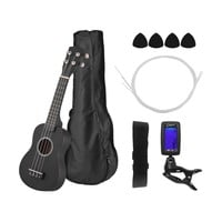 "21"" Ukulele Set Colored Acoustic Soprano Ukulele Ukelele Kit Basswood with Carry Bag Strap Strings Picks Guitar Tuner"