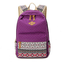 Women's Purpre Polka Dots Backpack for College Bookbag for Teen Girls School Bag + Free Gift Cute Elephant Ring