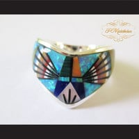 P Middleton Radiant Multiple Semi Precious Stones Ring Sterling Silver 925
