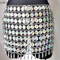 Iridescent Perplexed Crystal Jewel Body Chain Skirt/Top