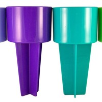 Pack of 4 Blue Purple Teal and Lime 8 Inch Spiker Beach Sand Coaster Cup Holder