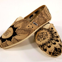 Henna Print Toms Shoes Hand Painted MADE TO ORDER