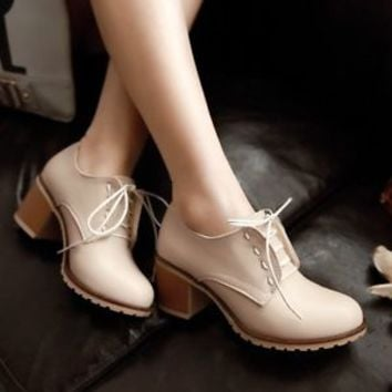Fashion Womens Lace Up Casual Chunky Mary Jane High Heel Retro Purn Chic Shoes