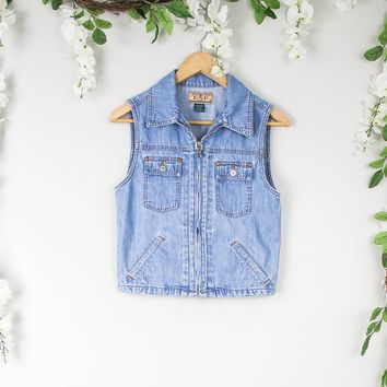 Vintage Zip Up Denim Vest