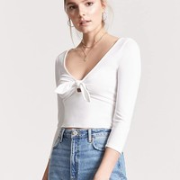Ribbed Tie-Front Top