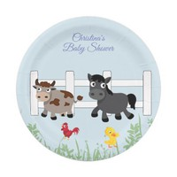Baby Shower, Farm Animals, Horse, Cow, Custom Paper Plate