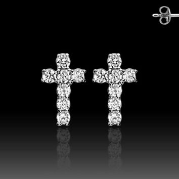 Pair of Stainless Steel STUD EAR WildKlass RingS W/ALL PRONG SET CZ CROSS (Sold as a Pair)