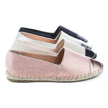 Saturday52 By Bamboo, Cap Toe Slip On Jute Rope Espadrille Flats
