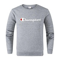 Champion Fashion Women Men Leisure Print Long Sleeve Sweater Top Grey