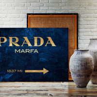 GOLD FOIL Navy Blue Background Prada Marfa Gossip Girl Prada Marfa Print Prada Marfa Art Prada Marfa Decor Gossip Girl Print Bedroom Prada